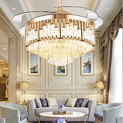 MoreChange 42 Inch Luxury Crystal Ceiling Fans with Lights, Remote Control 3 Color Changes Modern Invisible Chandelier Fan Lighting Fixture for Hotel Restaurant Living Room Dining Room, Gold