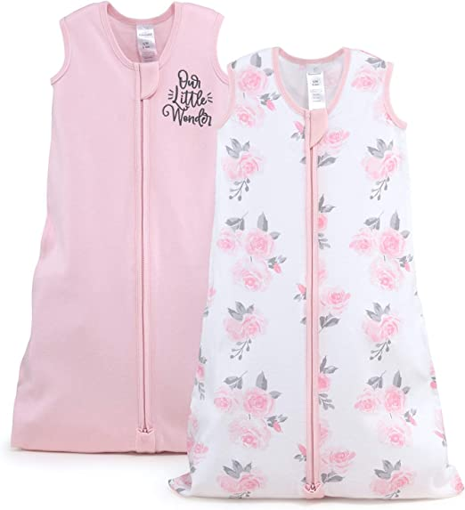 The Peanutshell Wearable Blanket Sleep Sack for Baby Girls, Solid & Pink Floral, Sizes up to 12 Months (Medium/Large)