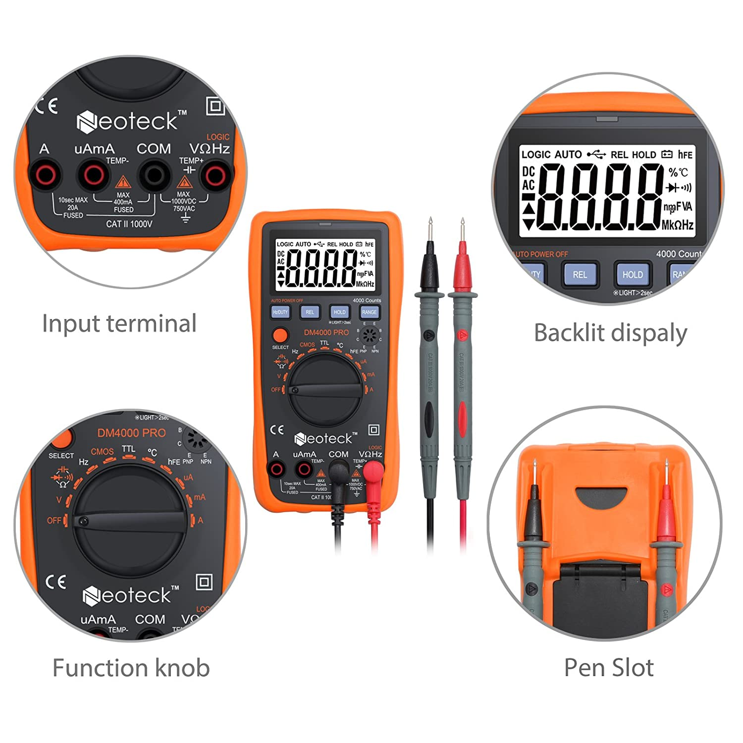 Neoteck Digital Multimeter 4000 Counts Auto Manual Range Lcd Display Backlight 2 Banana Plugs Ac Dc Voltage Current Resistance Capacity Frequency Temperature For School Laboratory Factory Etc Orange Business Industry Science