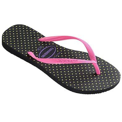 67678f0e8 Womens Havianas Slim Fresh Thongs Sandals Beach Rubber Brazil Flip Flops -  Black Pink -
