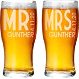 Mr Mrs Beer Glassware Set of 2 Drinking Glasses Happy Birthday for Men Women Bar Accessories for Home Couples Anniversary Man