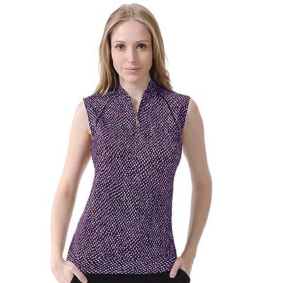 Monterey Club Ladies' Dry Swing Glitzy Animal Print Piping Sleeveless Shirt #2623