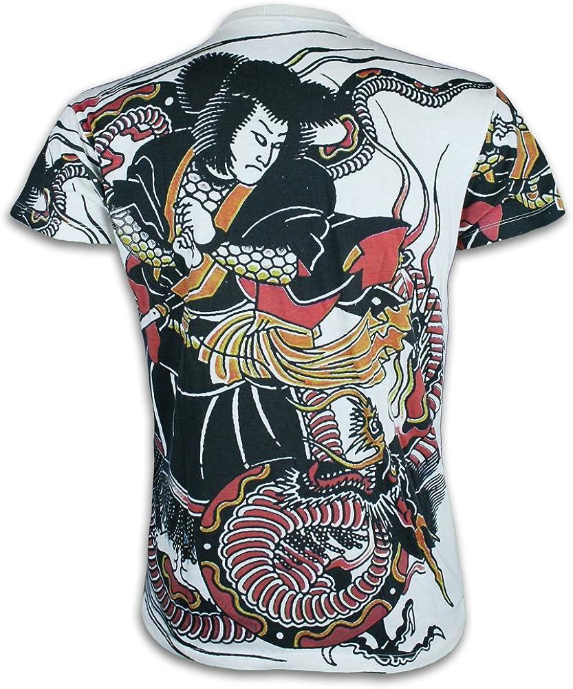 Ako Roshi Camiseta Hombre Miyamoto Musashi Talla M L XL Japón Artes Marciales Tatuaje Irezumi Hannya Buda (M, Blanco): Amazon.es: Ropa y accesorios