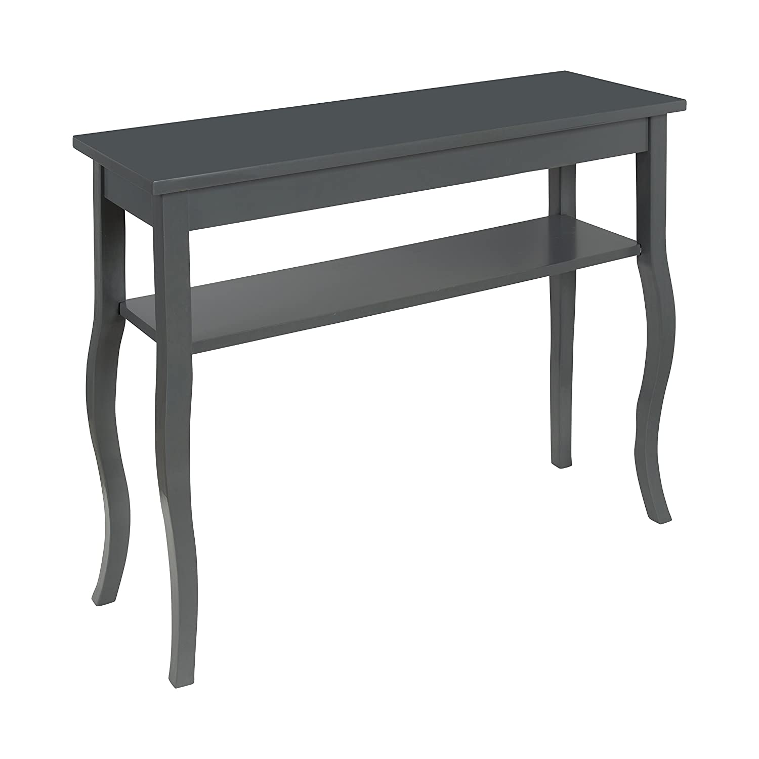 Kate and Laurel Lillian Wood Console Table with Decorative Curved Legs and Shelf, Gray