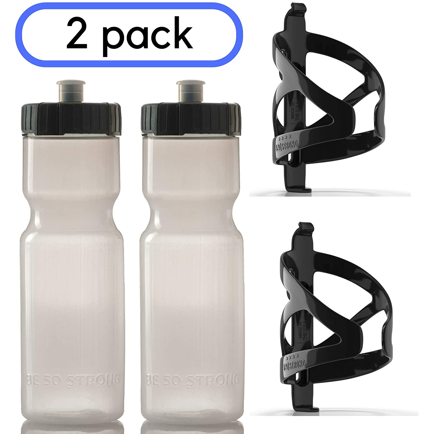 50 Strong Bike Bottle Holder with Water Bottle – 2 Pack – 22 oz. BPA Free Bicycle Squeeze Bottle and Durable Plastic Holder Cage- Made in USA