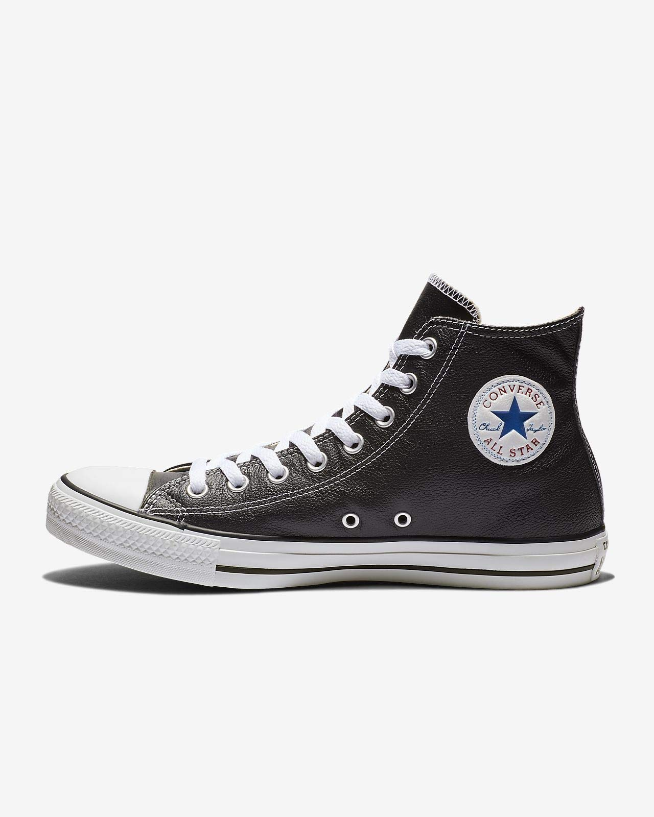 Converse Chuck Taylor All Star Leather Hi Shoes - Black - UK 10.5 / US Mens 10.5 / US Women 12.5 / EU 44.5 by Converse