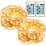 33ft 100 LED String Lights 2 Pack Dimmable with Remote Control, TaoTronics Waterproof Decorative Lights for Bedroom, Patio, Garden, Gate, Yard, Parties, Wedding ( Copper Wire Lights, Warm White )