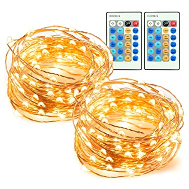 TaoTronics 33ft 100 LED String Lights 2 Pack Dimmable with Remote Control, Waterproof Decorative Lights for Bedroom, Patio, Garden, Gate, Yard, Parties, Wedding (Copper Wire Lights, Warm White)