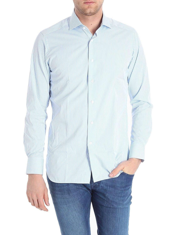 Bagutta Mens B342L08484250 Light Blue Cotton Shirt