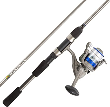 Amazon Com Fishing Rod Reel Combo 6 6 Fiberglass Pole Spinning Reel Bass Trout Lake Fish Spooled With 10lb Test Action Series By Wakeman Outdoors Blue Sports Outdoors