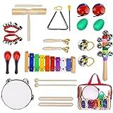 Yissvic 19Pcs Instruments de Musique pour Enfants Set de xylophone Jouet de Percussion Ensemble de Clochettes et Tambour Maracas avec Sac de Transport