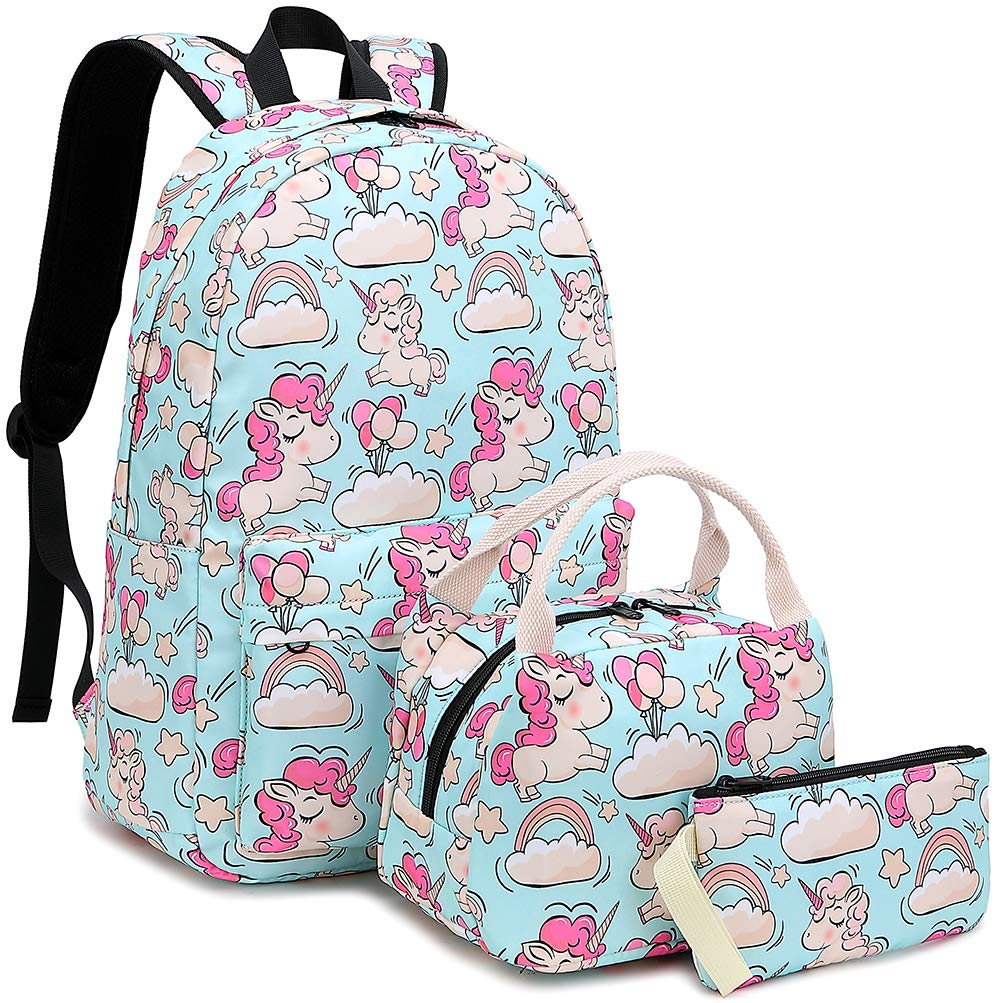 73c6b53cf325 BLUBOON School Backpack Set Teen Girls Bookbags 15 inches Laptop Backpack  Kids Lunch Tote Bag Clutch Purse (Sky Blue Unicorn Set)