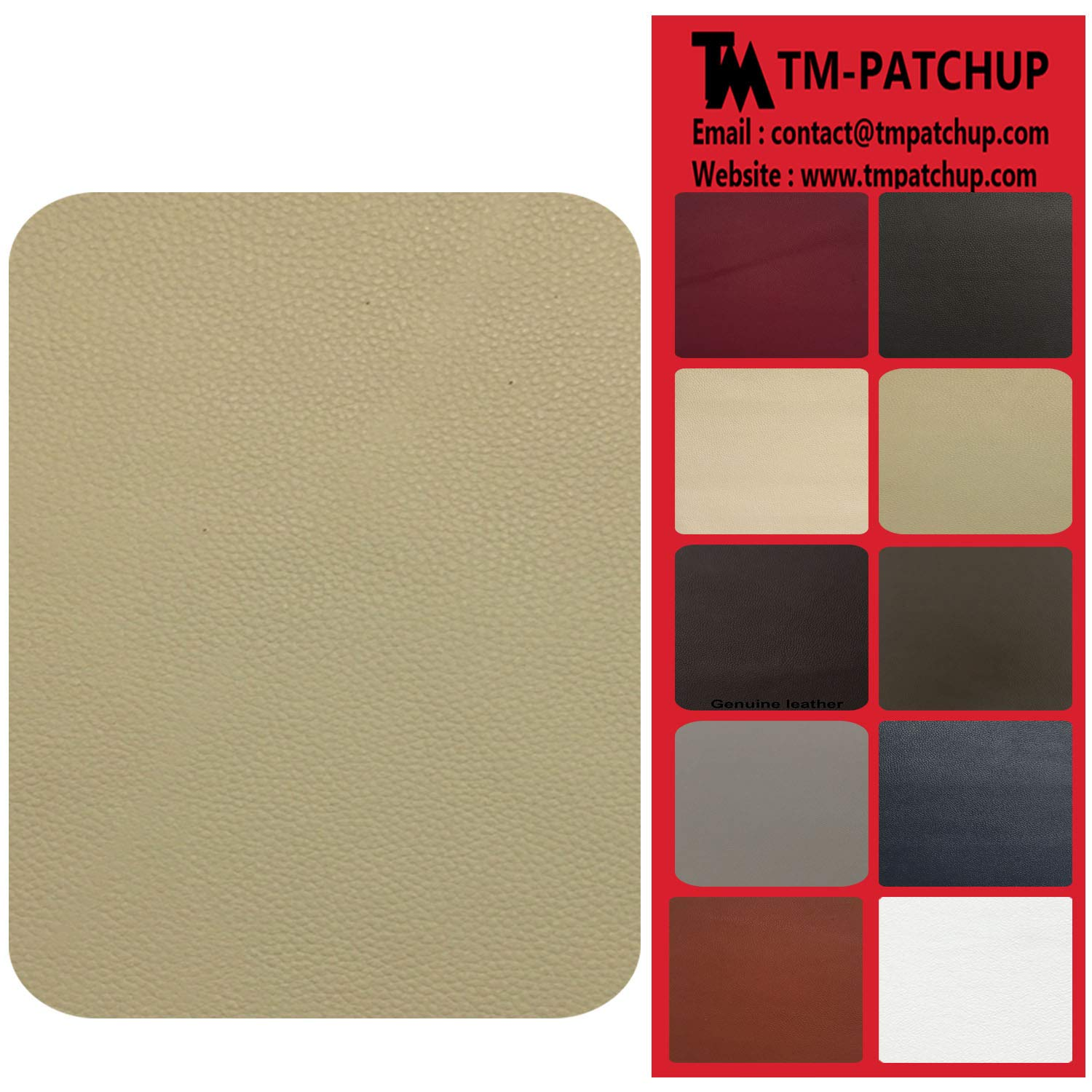 Medium Beige Leather and Vinyl Repair Patch by TMgroup, Genuine Faux Leather Repair Patch, Peel and Stick for Couch, Sofas, car Seats, Hand Bags,Furniture, Jackets, Large Size 3'' x 6'' (2) TMpatchup