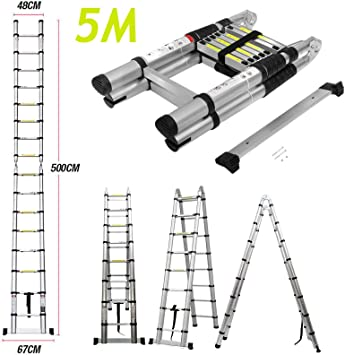 DICN Extension Ladders 16.5 Feet 5M Aluminum Adjustable Height A-Type//Straight Ladder Non-Slip Rubber Legs with Stabilizer bar Tall Multi Purpose