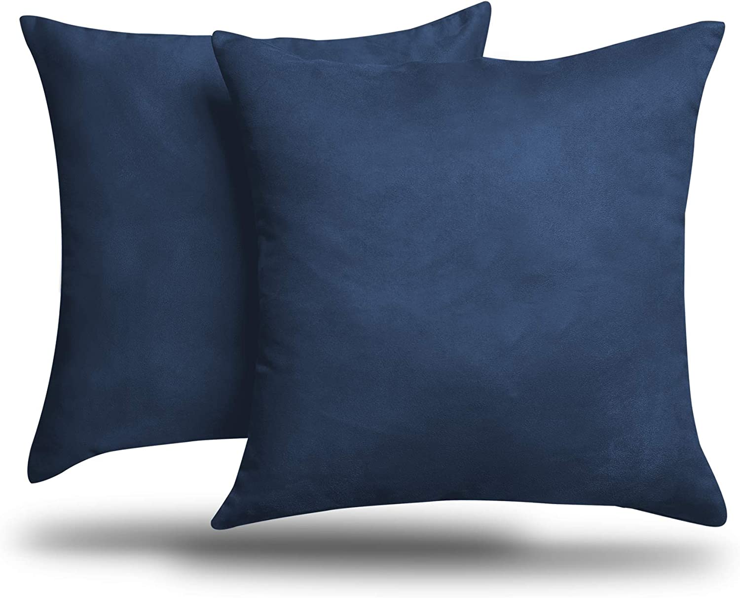 """ALEXANDRA'S SECRET HOME COLLECTION 2-Pack Solid Faux Suede Decorative Throw Pillow Cover/Sham (26"""" x 26"""", Navy)"""