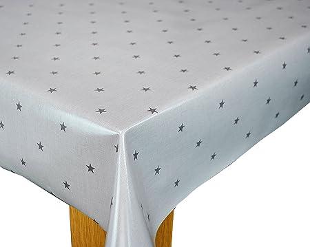 Karina Home Etoile Stars Grey Cotton PVC Oilcloth Tablecloth 132cm X 250cm