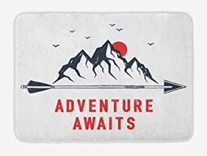 Ambesonne Saying Bath Mat, Mountains Full Moon Sky with Flying Gulls Words Adventure Wanderlust, Plush Bathroom Decor Mat with Non Slip Backing, 29.5