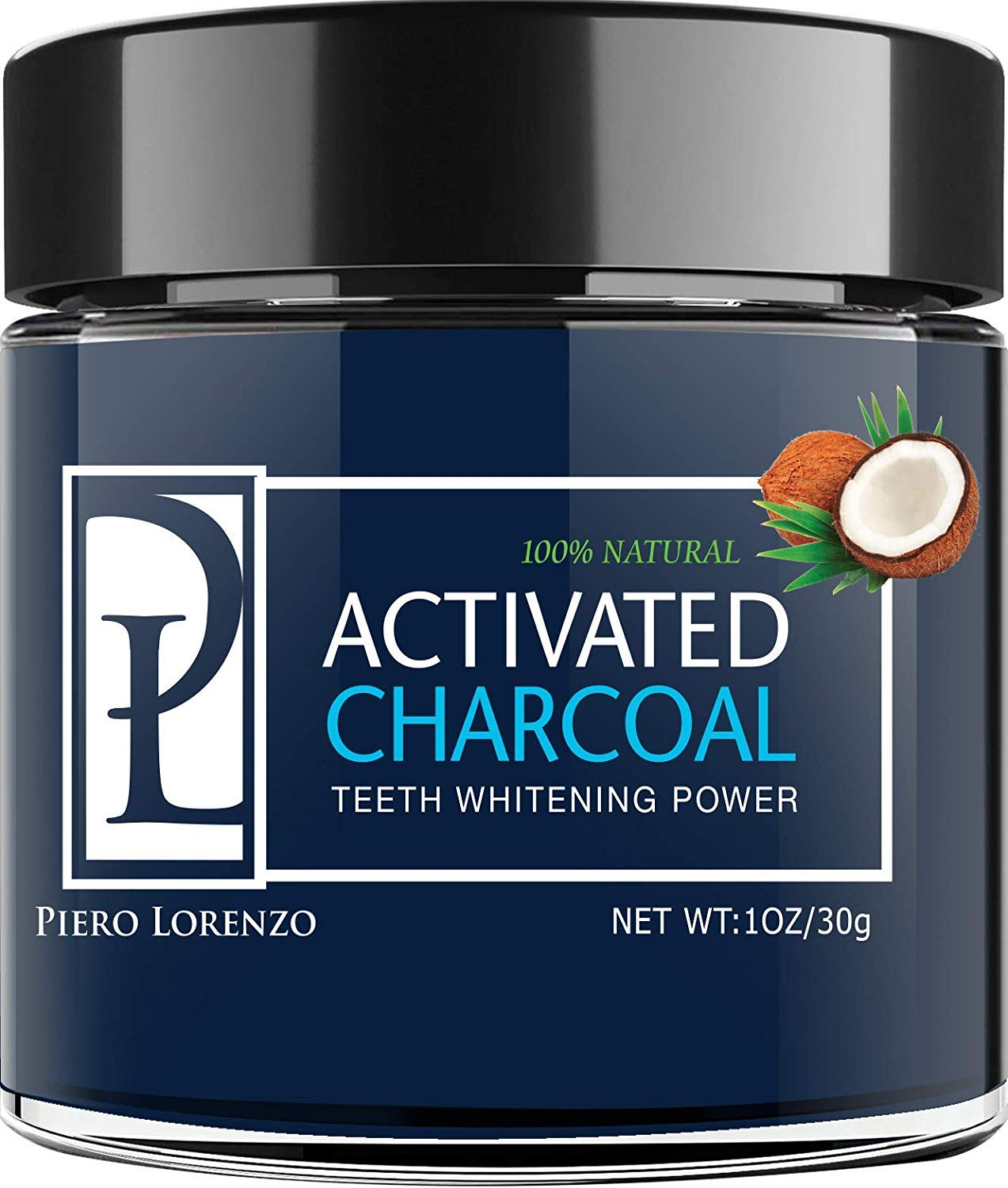 Natural Teeth Whitening Powder - Made with Activated Coconut Charcoal - for Sensitive Teeth and Healthy Whitener product image