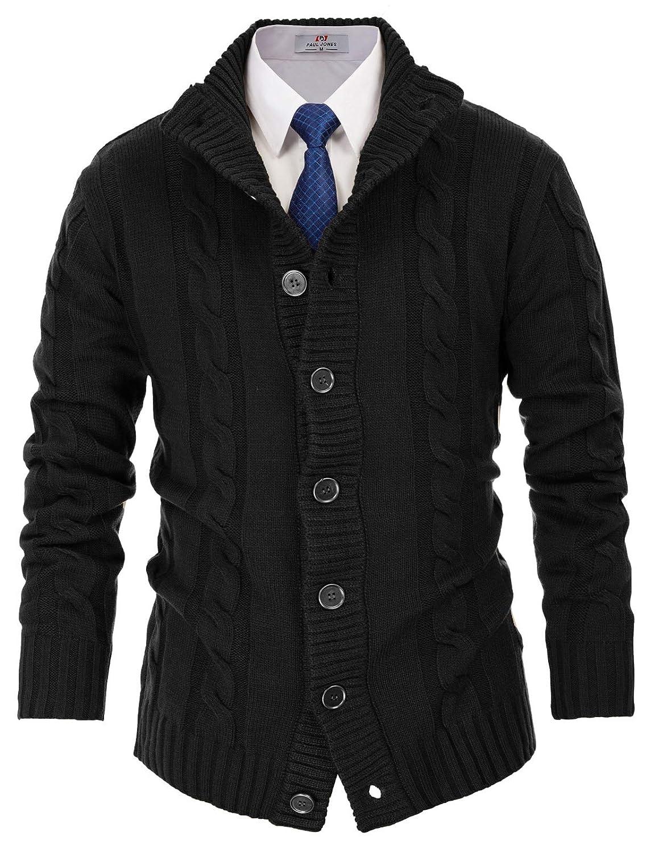 PaulJones Uomo Sweater Cardigan Twisted Elegant Long Sleeves Thick Straight Collar