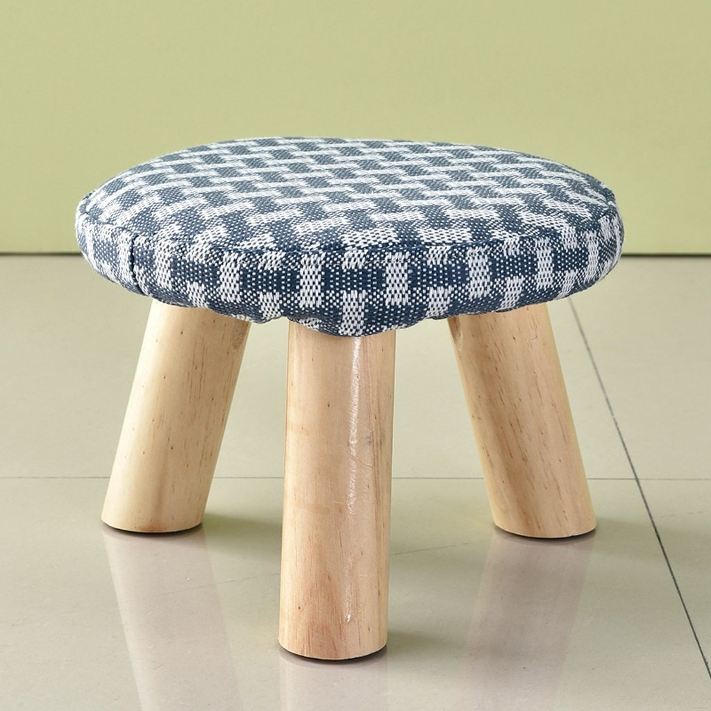 Duzhengzhou Padded Footstools Foot Rest with Wooden Legs Linen Fabric Cover Blue (Color : Round blue)