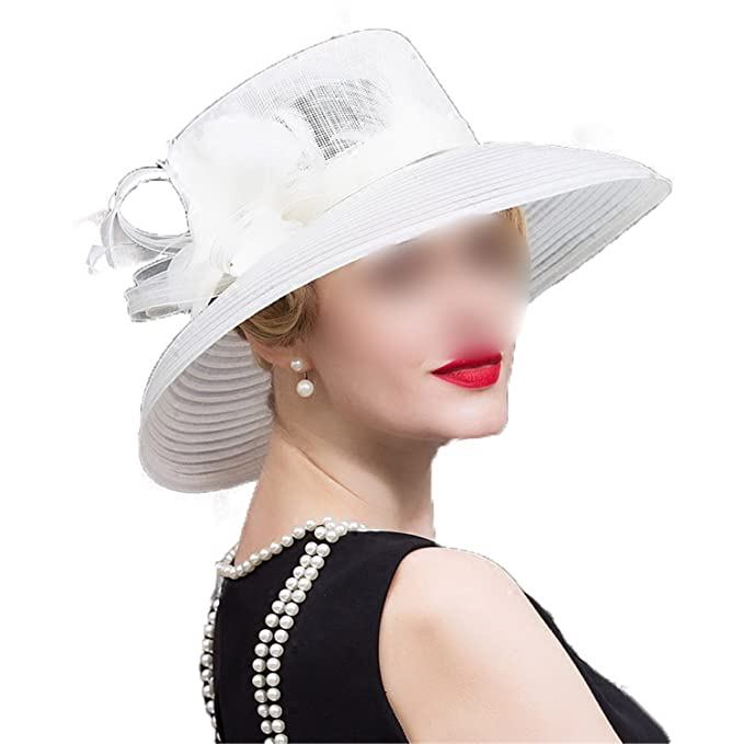 d87a4691 Women White Floral Summer Large Wide Brim Linen Kentucky Derby Hats For Women  Church Hats Chapeau Mariage Dame: Amazon.co.uk: Clothing