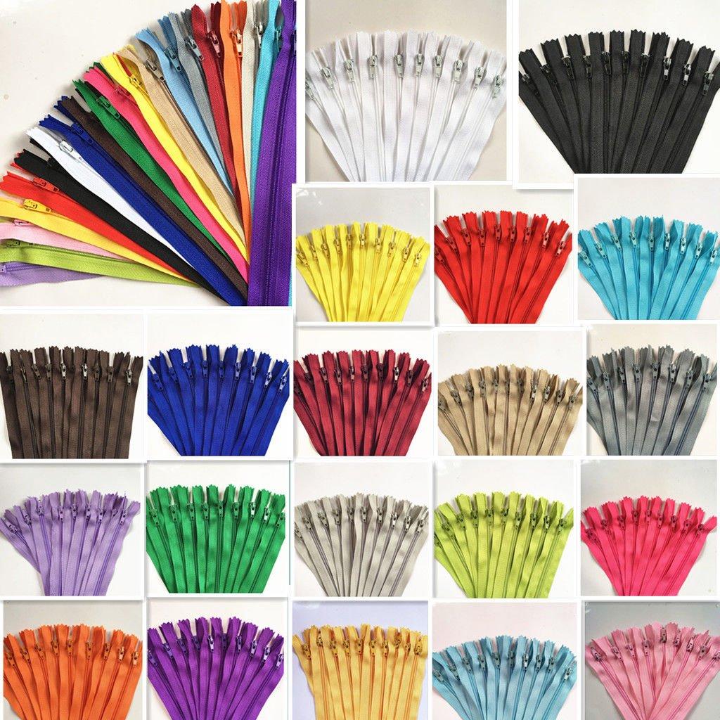 WKXFJJWZC 100pcs Mix 25cm (10 Inch) Nylon Coil Zippers Bulk for Sewing Craft (20/Color) by WKXFJJWZC