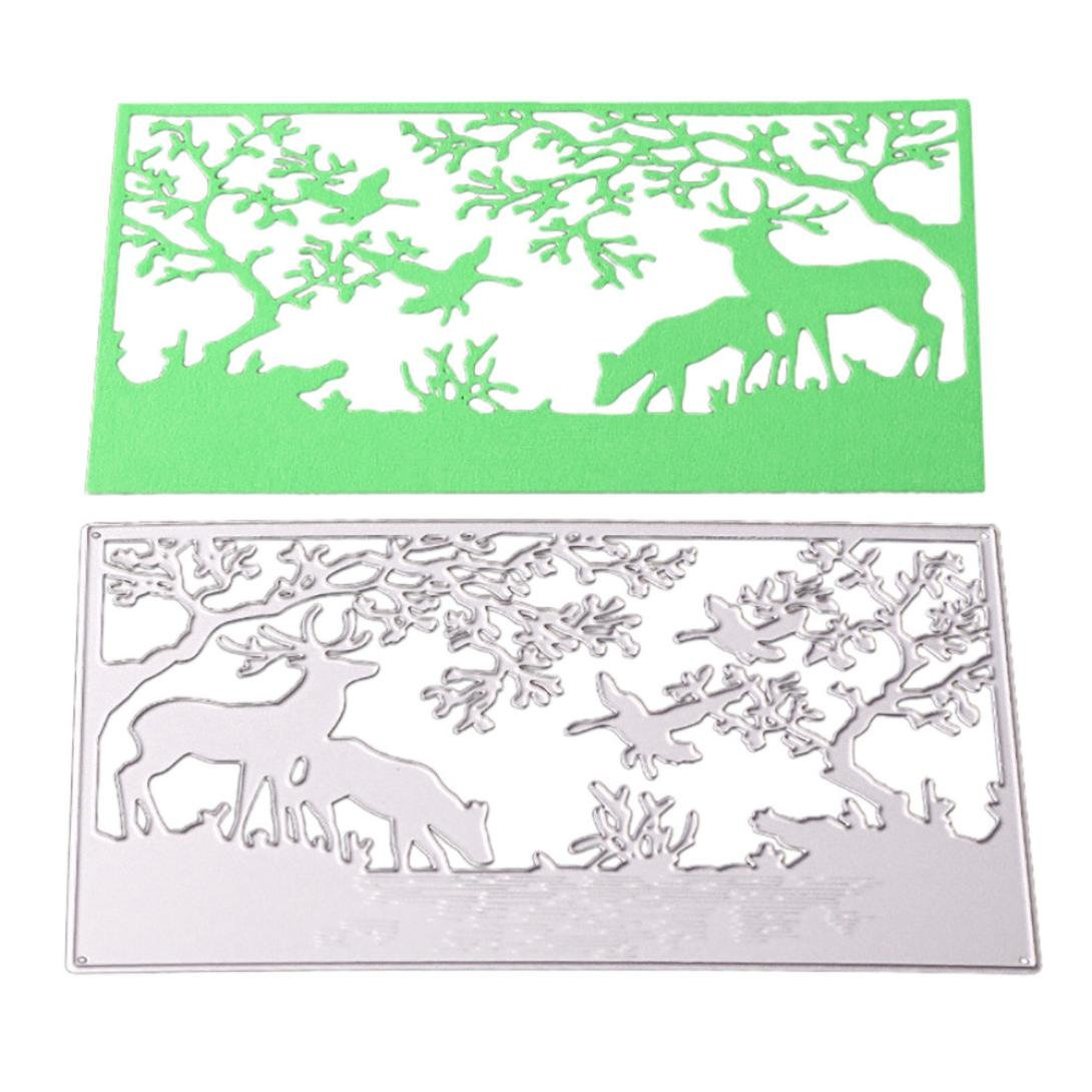 Cutting Dies for Card Making, Winkey Flowers Cartoon Metal Cutting Dies Stencils From China For DIY Scrapbooking Photo Album Paper Cards Crafts, Embossing Cutting Dies For Machine (Deer in the jungle Cutting Dies)