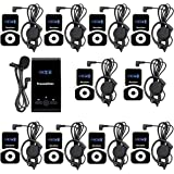 TIVDIO Professional Wireless Tour Guide System For Church Listening Teaching Conference Traveling Museum Square Dance Listening Field Interpretation(1 Transmitter and 10 Receivers)