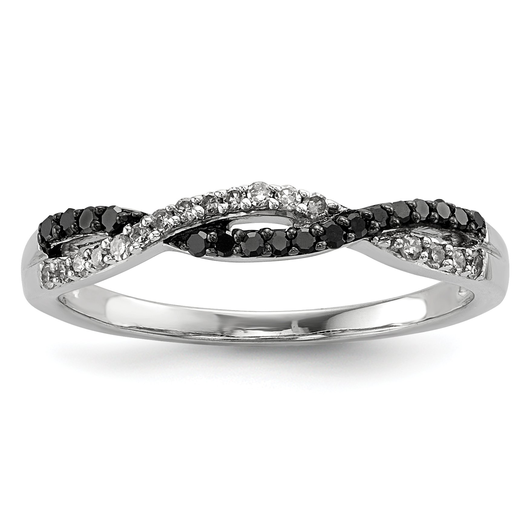 ICE CARATS 925 Sterling Silver Back White Diamond Band Ring Size 8.00 Fine Jewelry Gift Set For Women Heart