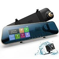 """DuDuBell Rückspiegel Kamera Dashcam Autokamera mit RückfahrkameraFull HD 1080P Dual Lens 4,3"""" Touchscreen 170° Weitwinkel G-Sensor Loop-Aufnahme Parküberwachung Bewegungserkennung"""