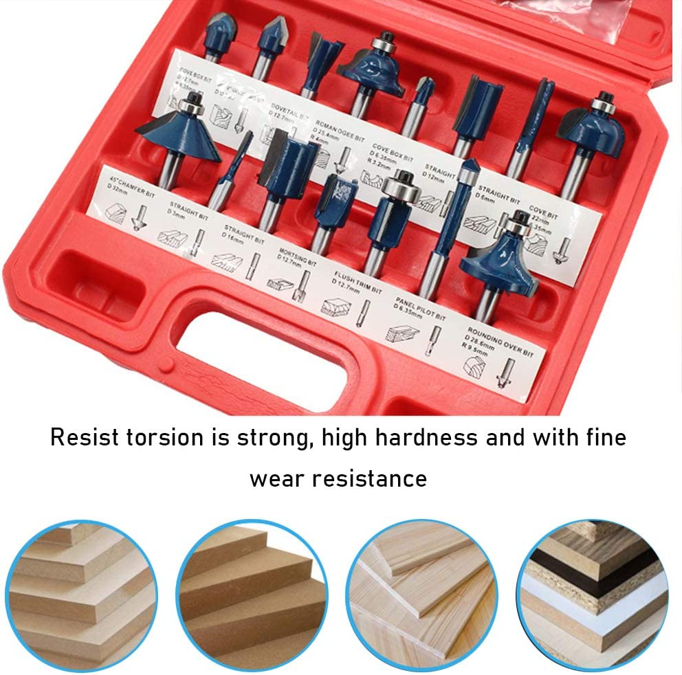 KKmoon Router Bit Set of 12pcs 1//4 Inch Shank Carbide Tipped Woodworking Tool Set with Plastic Case