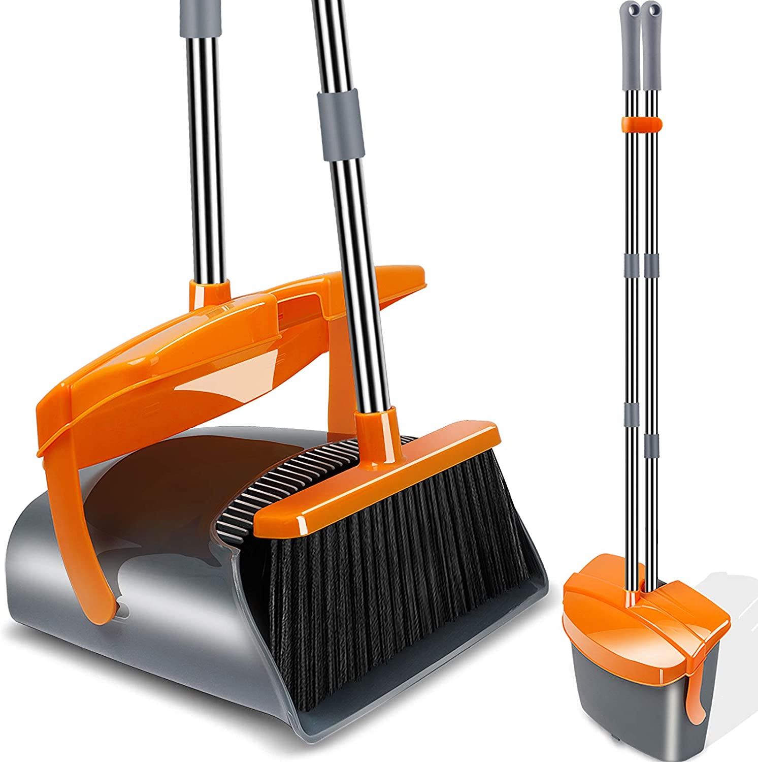 Kelamayi Dustpan and Broom Set,Stainless Long Handle Commercial Dust Pan Broom Combo Foldable Stand Dust Pan Sweep Set,Ideal for Pet Dog Hair Home Kitchen Office Cleaning: Home & Kitchen