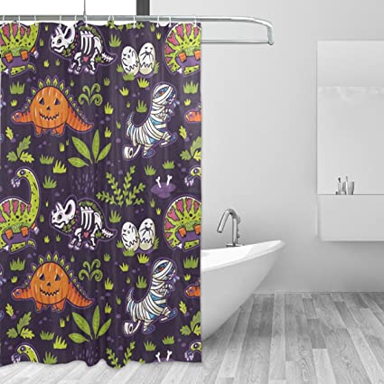 WIHVE Shower Curtain Dinosaur Pumpkin Zombie 60 X 72 Inch Four Seasons Bath  Decorations Bathroom Accessories