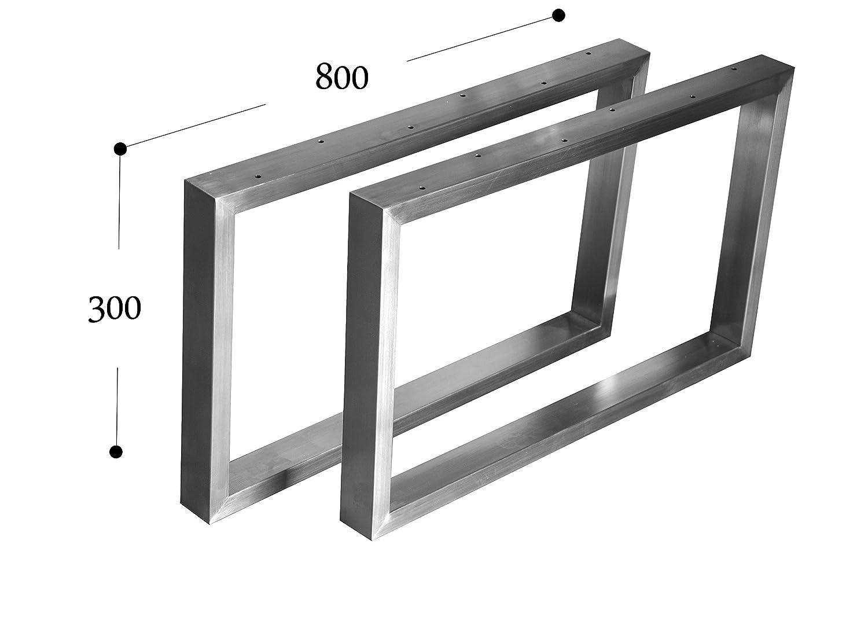 CHYRKA Kufengestell Tischgestell Edelstahl 201 Rahmentisch Tischkufe Tischuntergestell (300mm x800 mm - 1 Paar)