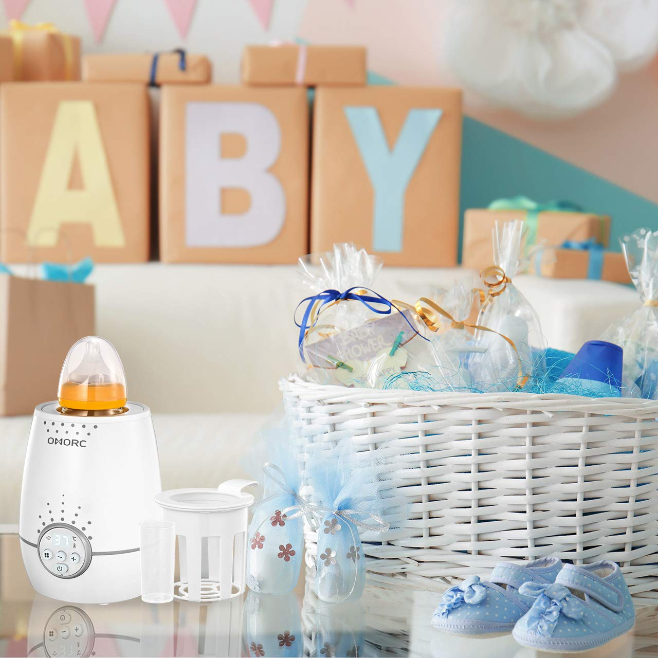 3-in-1 Babykostw/ärme mit LED Display 2000W schnelle Erw/ärmung flaschenw/ärmer baby f/ür Schnelle Aufheizung Desinfektion OMORC Babykost- und Fl/äschchenw/ärmer W/ärmehaltung-Wei/ß