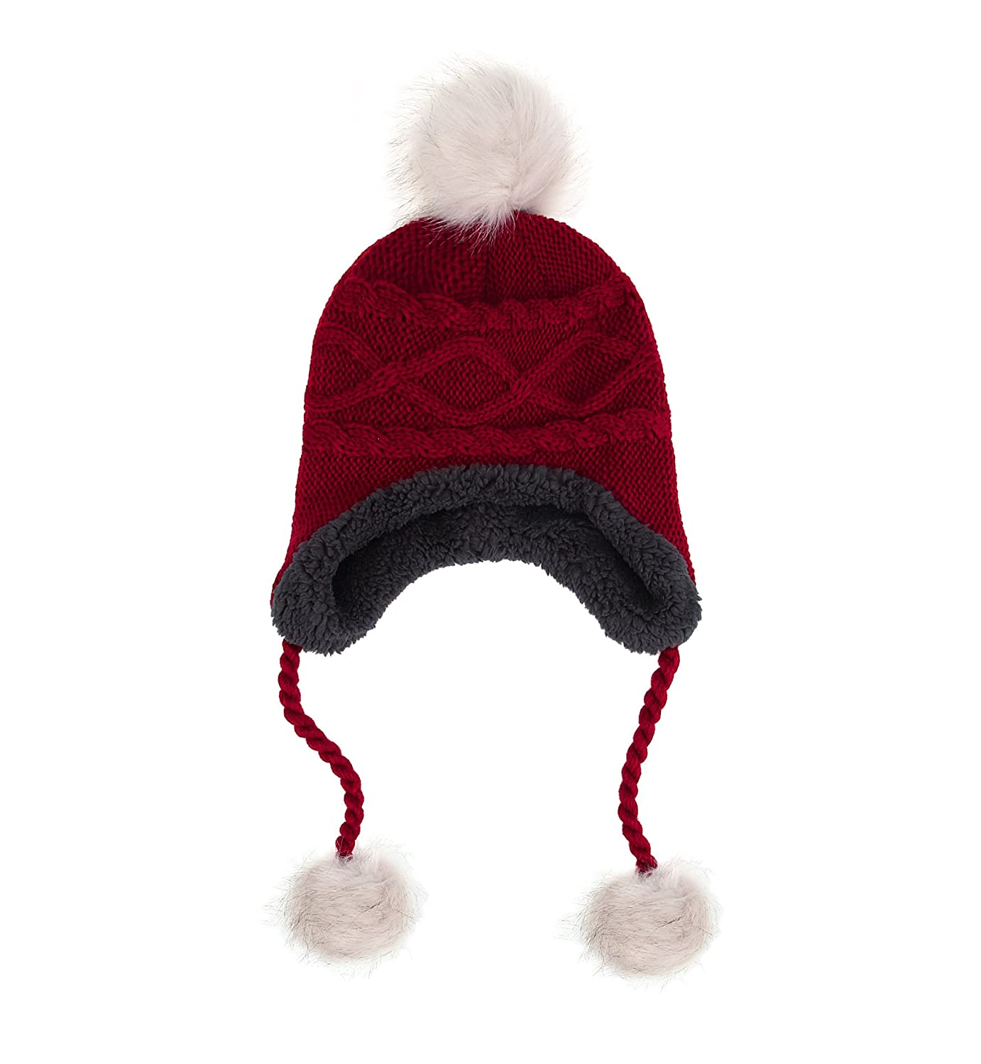 Sumolux Soft Warm Earflap Hood Beanie Hat for Girls Women Knitted Pom Pom Winter Hats