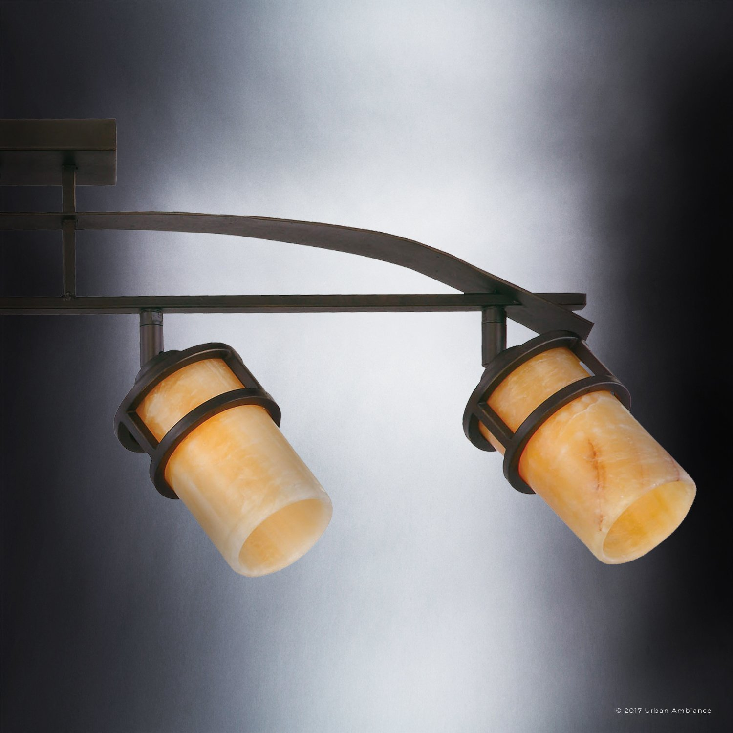 Luxury Rustic Track Lighting, Medium Size: 14.5''H x 36''W, with Craftsman Style Elements, Banded Wrought Iron Design, Royal Bronze Finish and Butterscotch Onyx Stone Shade, UQL2419 by Urban Ambiance by Urban Ambiance (Image #5)