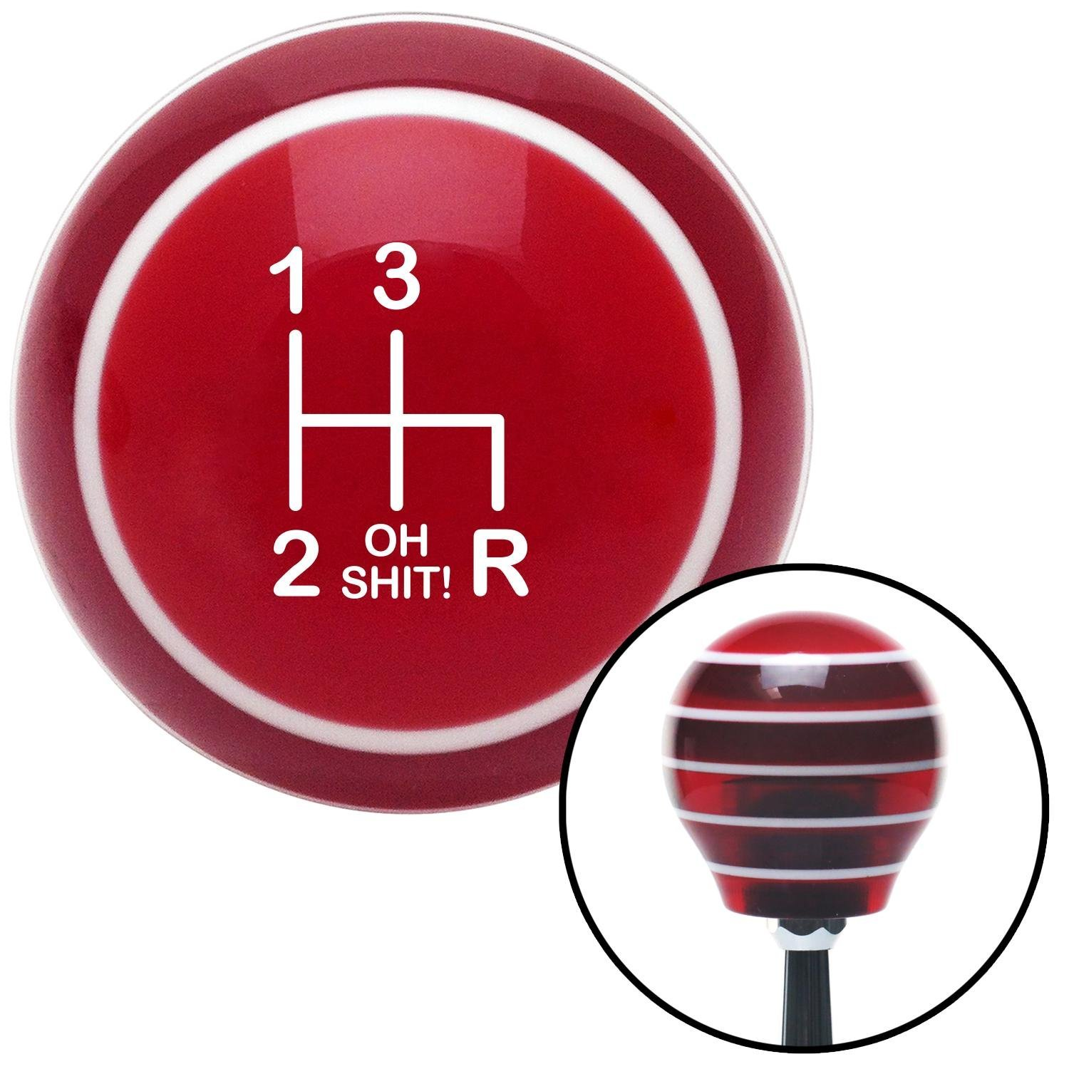 White Shift Pattern OS6n American Shifter 118226 Red Stripe Shift Knob with M16 x 1.5 Insert