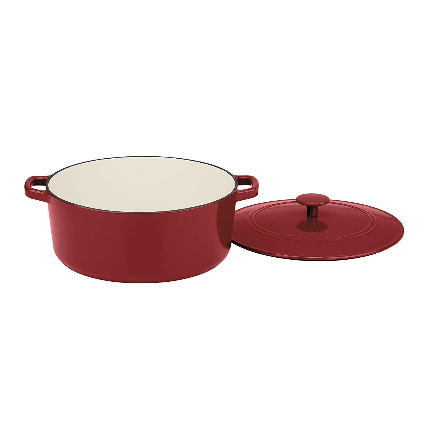 Enameled Cardinal Red 7 Qt  Covered Casserole Cuisinart CI755-30CR Chef's Classic Enameled Cast Iron 5-1 2-Quart Oval Covered Casserole, Cardinal Red