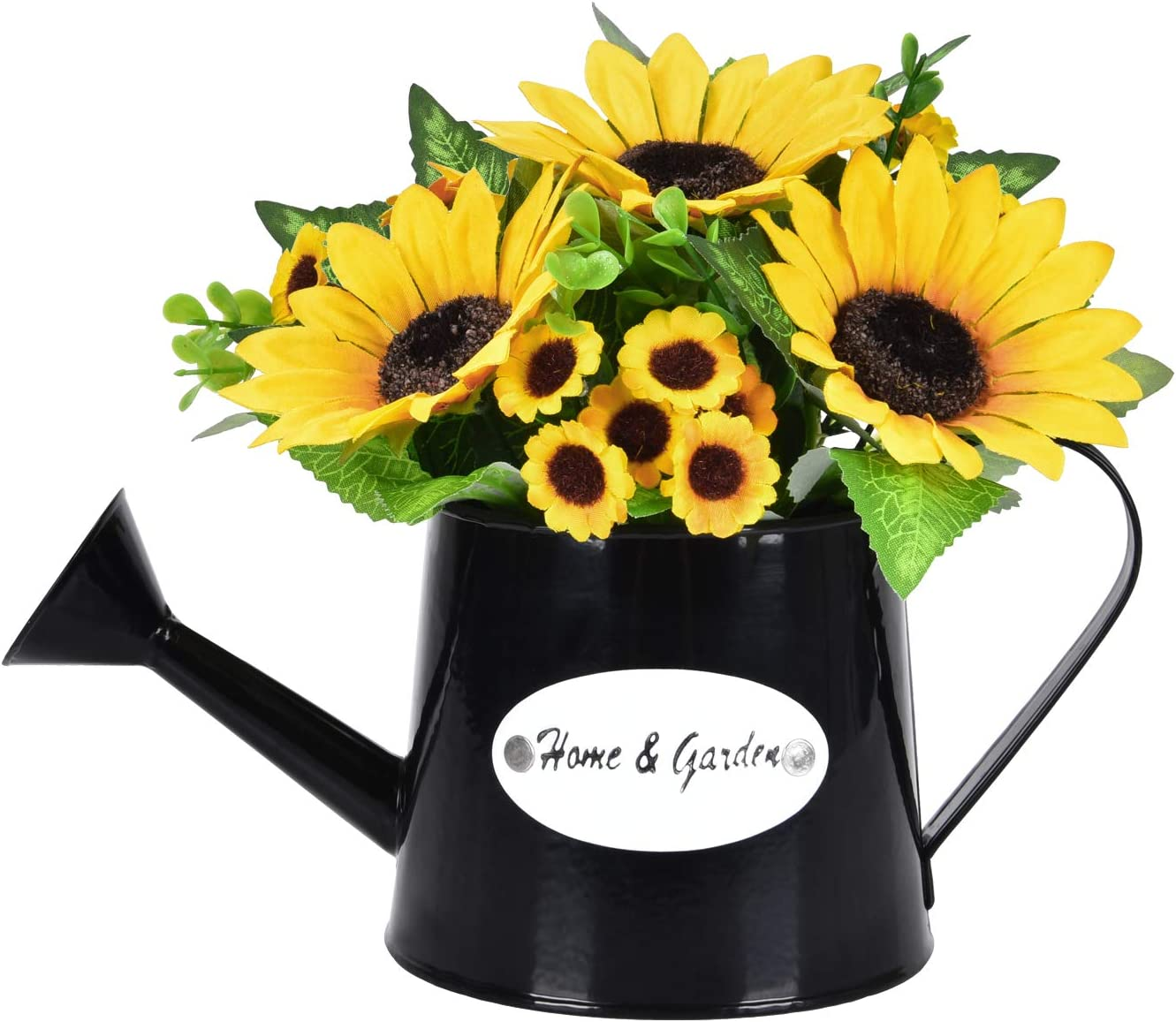 Dolicer Artificial Sunflower Watering Pot Shape Bonsai, 1 Pc Artificial Sunflower with Vase Pot Fake Flower Artificial Sunflowers Bouquet for Party Office Garden Table Home Decor (Yellow)