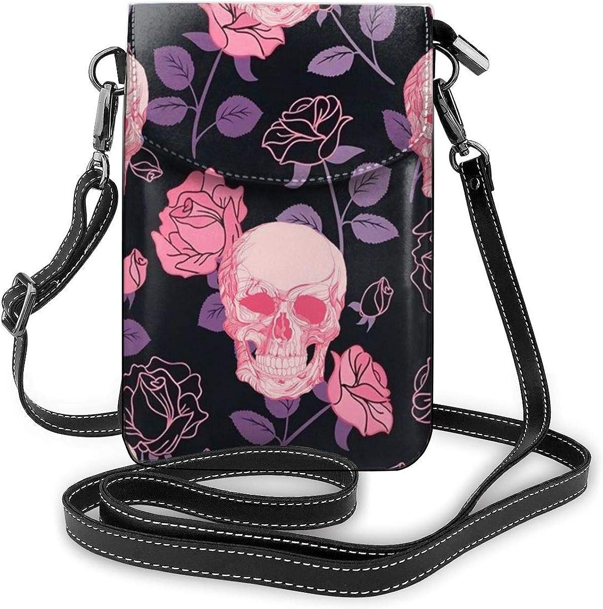 Cell Phone Wallet Pink Sugar Skulls Small Crossbody Cell Phone Purse