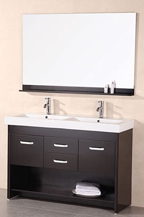Design Element Citrus Mini Integrated Porcelain Drop In Double Sink Vanity  Set, 48