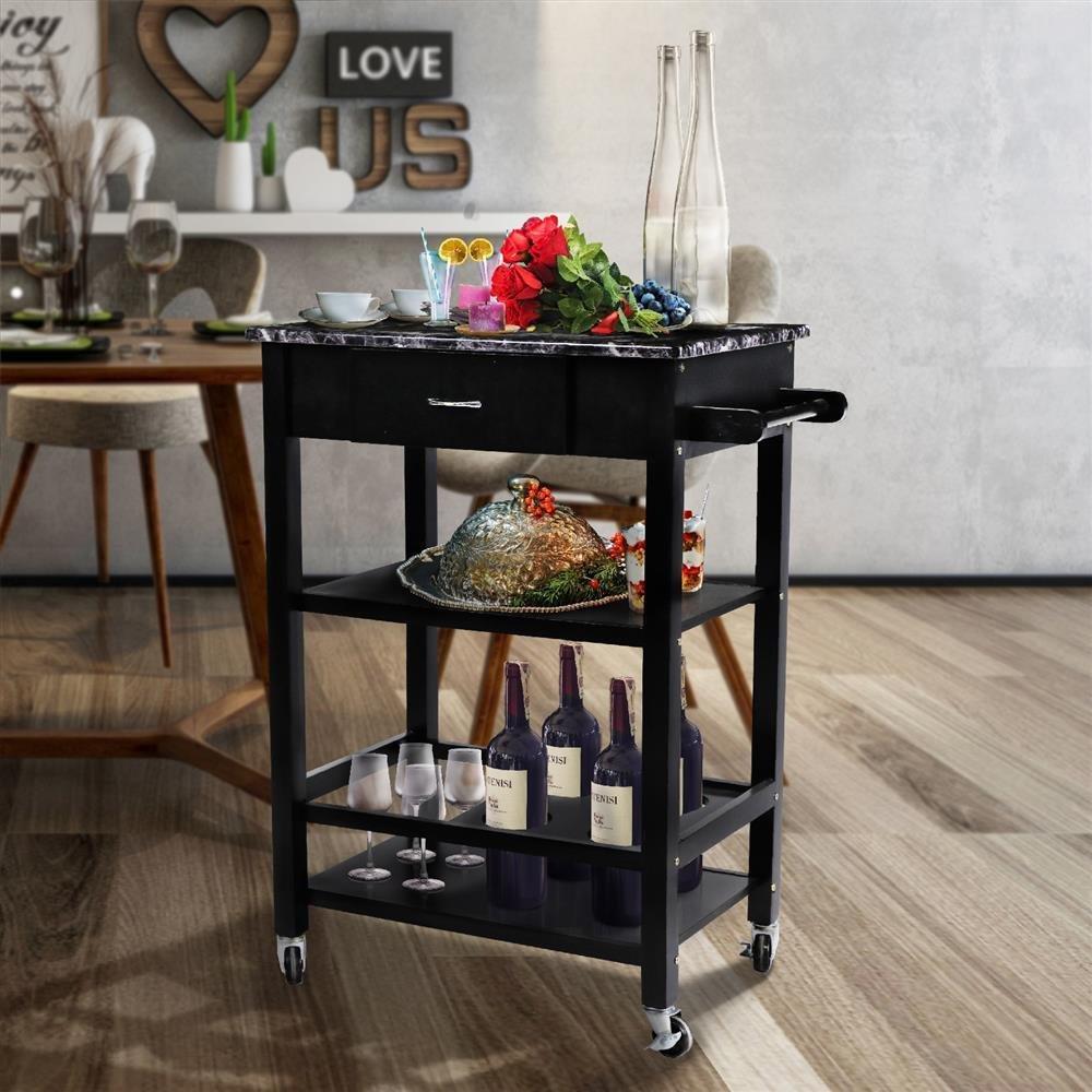 go2buy 3-Tier Wooden Faux Marble Kitchen Buffet Serving Cart Bar Wine Bottle Storage w/Lockable Wheels