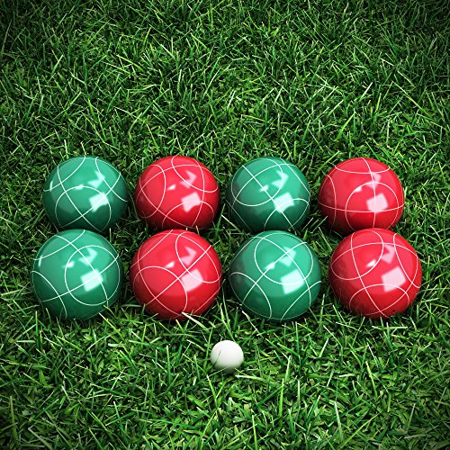 71Yp5ooTD4L - Hey! Play!! 80-76090 Bocce Ball Set- Outdoor Family Bocce Game for Backyard, Lawn, Beach & More- 4 Red & 4 Green Balls, Pallino & Carrying Case