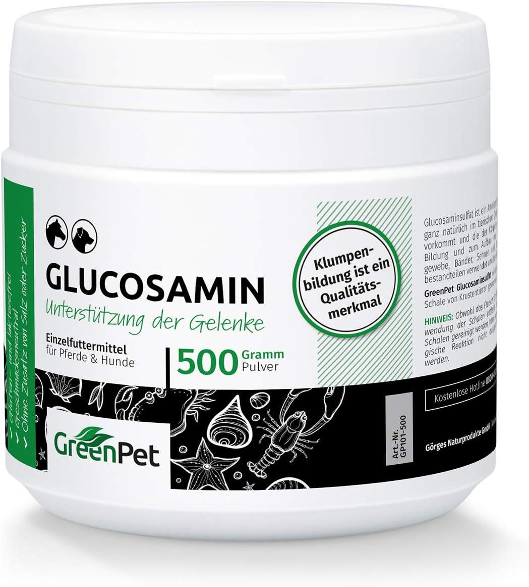 Glucosamina en Polvo para Perros y Caballos (500g.) | Sin Aditivos, Azúcares ni Sal Añadidos | GreenPet