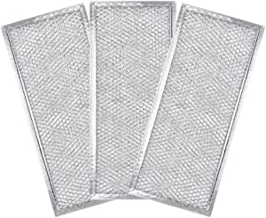 """AMI PARTS W10208631A Filter Aluminum Mesh Microwave Oven Grease Filter 3-Pack(Packed in Box),Compatible with Whirlpool 12-15/16"""" x 5-3/4"""" x 1/16"""""""