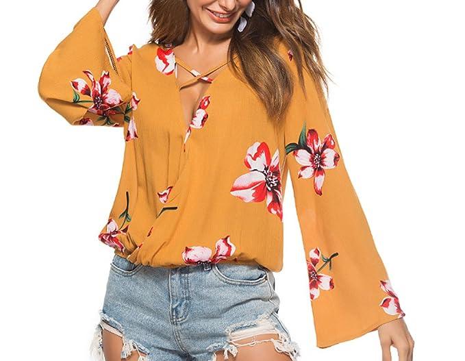 Primavera y Otoño Mujeres Tops Moda Cuello V Profundo Cuerno Manga Blouses Camisas Casual Impresión Playa