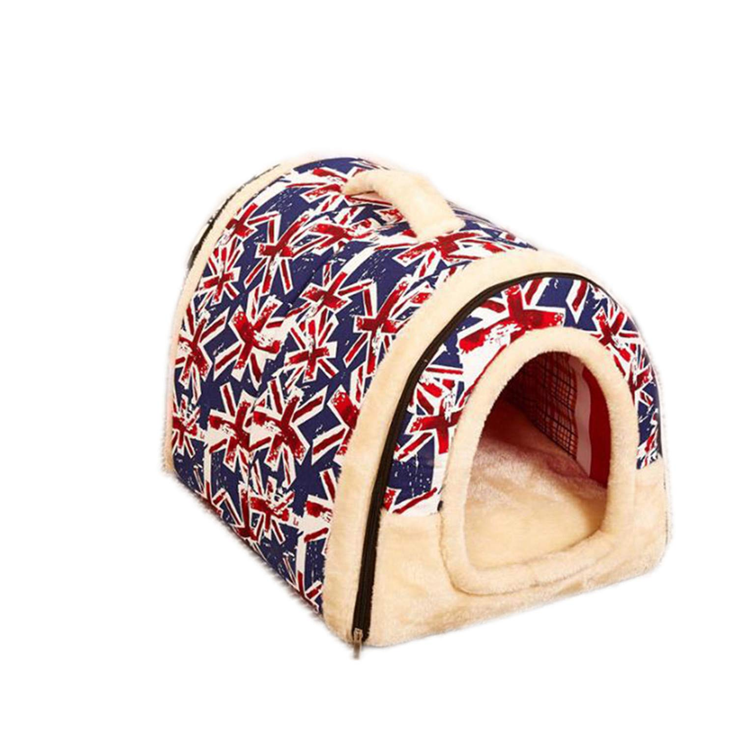 Flag MOld Dird Portable Warm Comfortable Cat House Bed Indoor Outdoor Pet Home PB004 (M, Star)