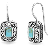 WILLOWBIRD Sterling Silver Turquoise Earrings Filigree French Wire Dangle for Women