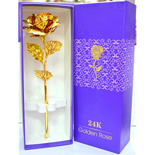 Rks Global Golden Rose Flower 24 K Special Gift For Valentines Love Ones Birthday